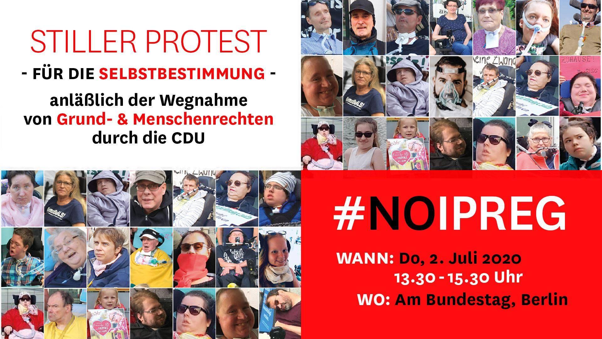 noIPReG Stiller Protest 02. Juli 2020 vor dem Bundestag