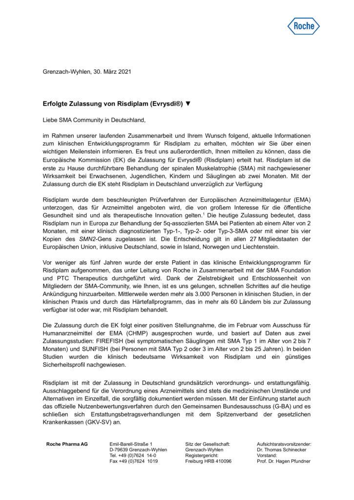 Preview Community Letter Risdiplam Zulassung Seite 1